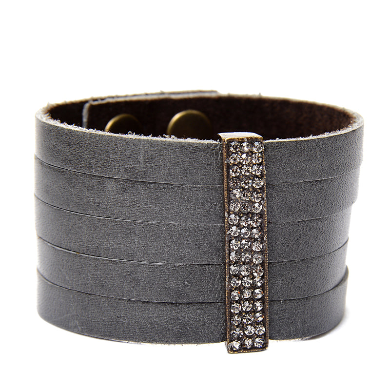 Pave Crystal Bar Leather Bracelet