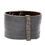 5097 pave crystal bar leather bracelet