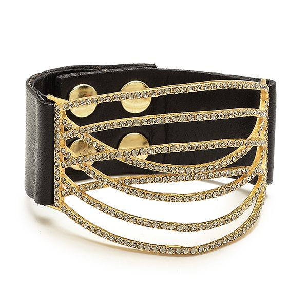 Crystal Curved Line Leather Bracelet