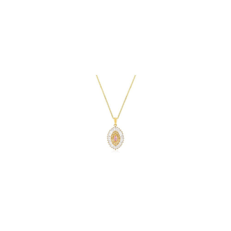 Goldtone Pink And Clear Cz Oval Halo Pendant