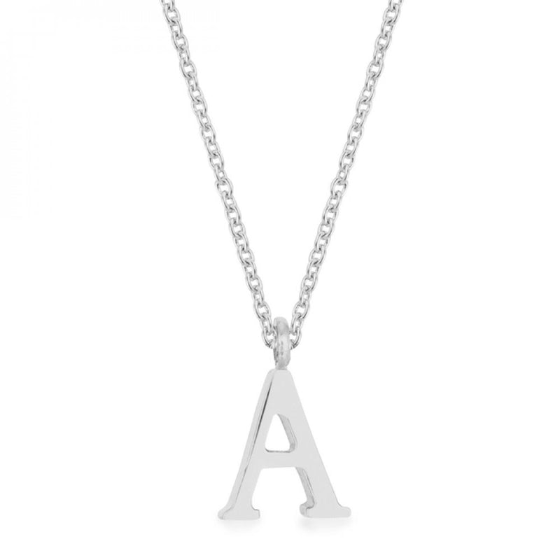 Elaina Rhodium Stainless Steel A Initial Necklace