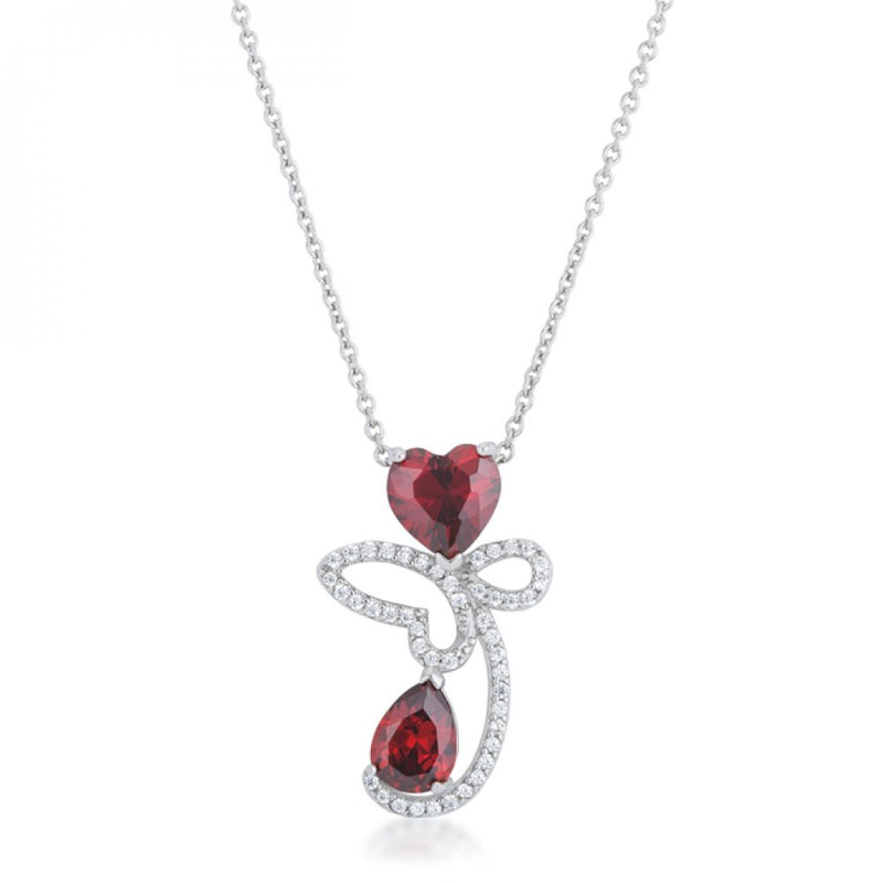 Clarise 3.2ct Garnet Cz Rhodium Abstract Heart Drop Necklace