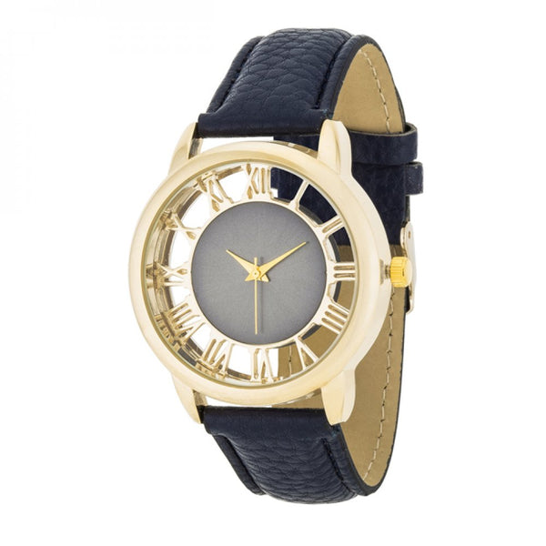 Cecelia Gold Boyfriend Watch With Navy Blue Leather Band