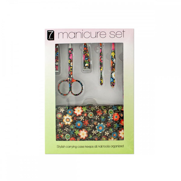 Manicure Set With Stylish Floral Carrying Case