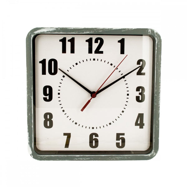 Distressed Square Grey Wall Clock