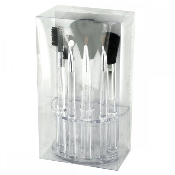 Clear Cosmetic Brush Set In Organizer