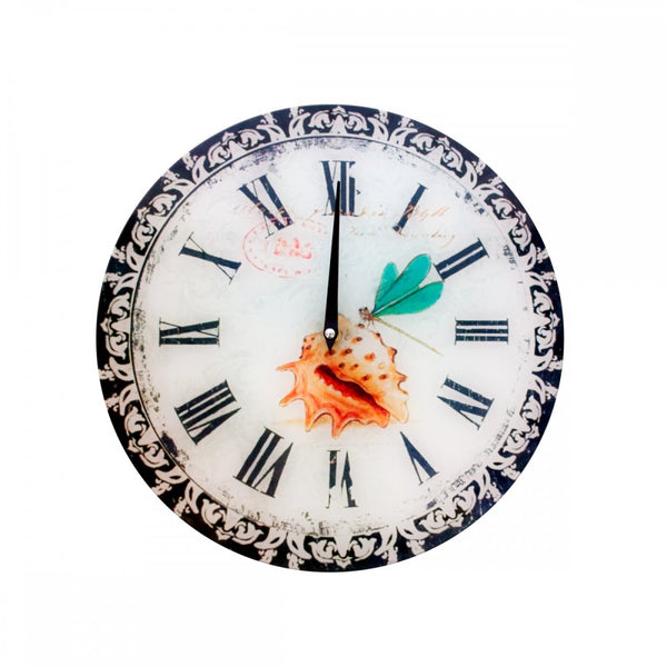 Dragonfly & Shell Decorative Glass Wall Clock