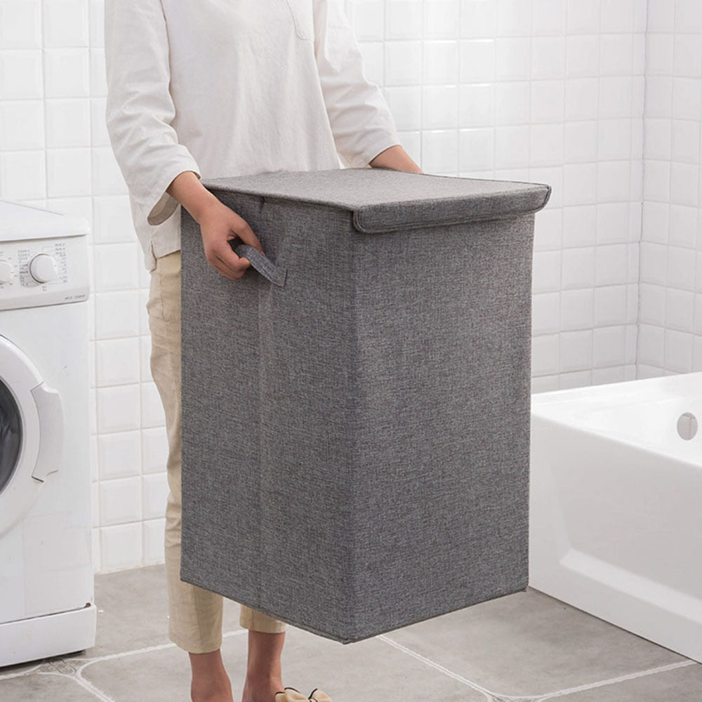 Cotton Laundry Basket With Cover - Homelylab