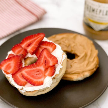 Bagel with Peanut Butter, Cream Cheese, and Strawberries