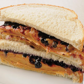 Peanut Butter & Blueberry Jam on White Bread