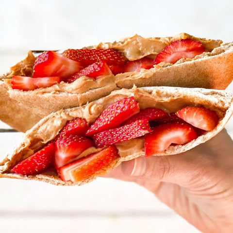 strawberry and peanut butter pita sandwich