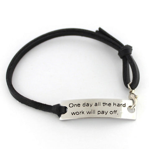 Inspirational Jewelry Engraved Hard Work Will Pay Off Bar Bracelet - Perfect Gift for Women, Men, Girls
