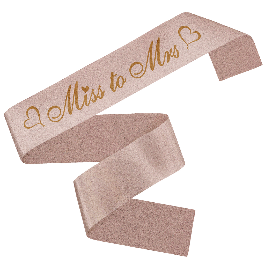 Rose Gold Glitter Miss to MRS Sash with Sparkles - Bridal Shower Supplies, Bachelorette Hen Party Wedding Decorations - Bride to Be Kit, Party Favors & Accessories - Unique Design