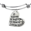 Image of Inspirational Jewelry Engraved Message It takes a Big Heart to Teach Little Minds Quote Token Bracelet for women, girls, friendship, wedding gift jewelry - Perfect Gift for Teachers