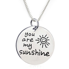 Inspirational Jewelry Engraved Message You are my Sunshine Quote Token Pendant Necklace for friendship, wedding gift jewelry - Perfect Gift for Women, Men, Teens, Girls