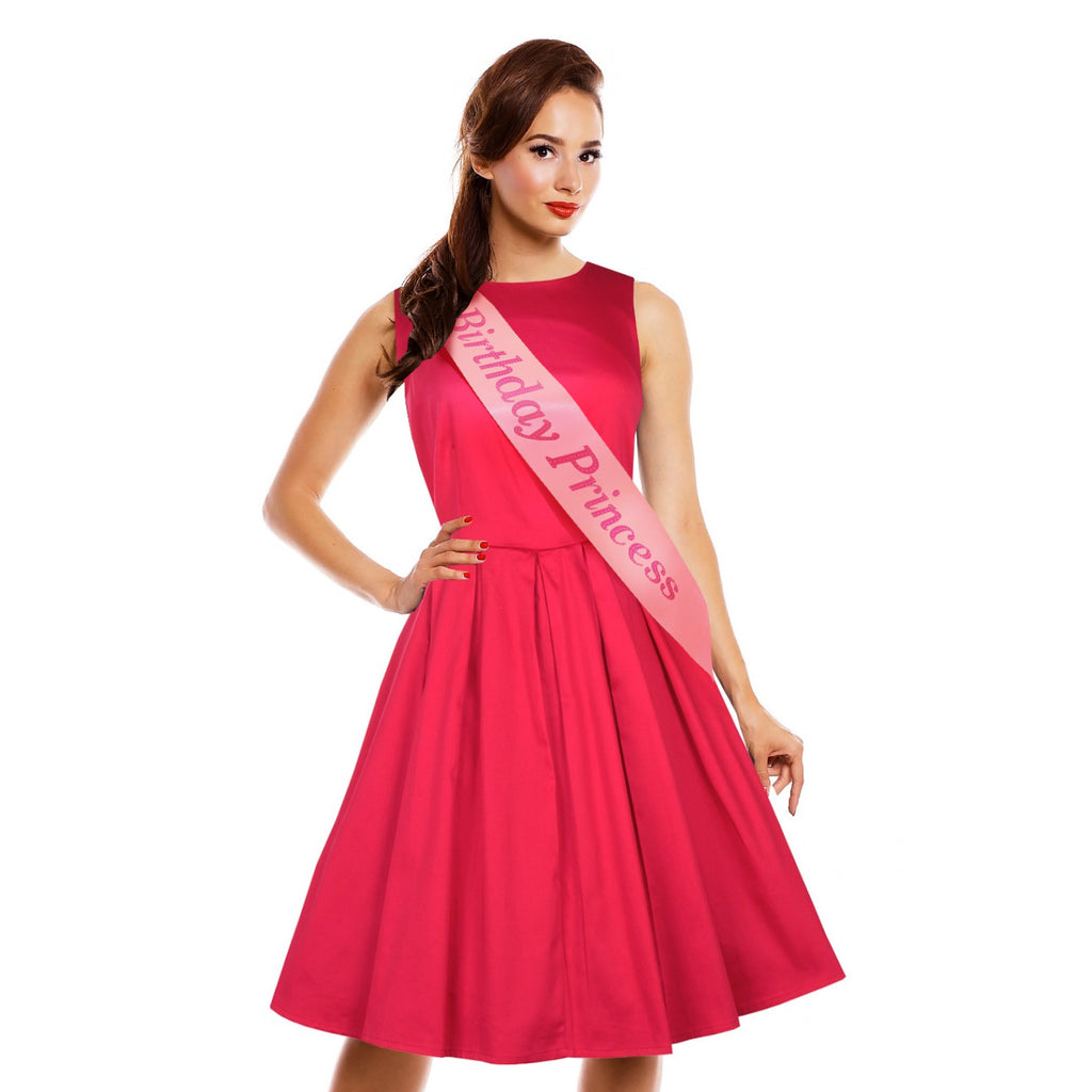 "Fashionable Pink Satin Sash ""Birthday Princess"" with Hot Pink Encased Lettering - 15th, 16th, 17th, 18th, 21st, 22nd, 25th, 30th Birthday Party - Happy Birthday Sash"