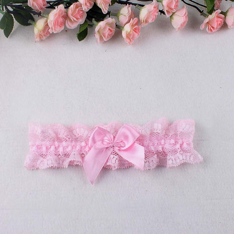 Wedding Rose Pink Floral Lace Bridal Garter Belt with Rhinestone Satin Bow for Brides to Be for Toss Away