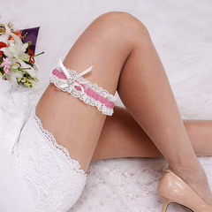 Wedding Rose Pink White Floral Lace Bridal Garter Belt with Rhinestone Satin Bow for Brides to Be for Toss Away