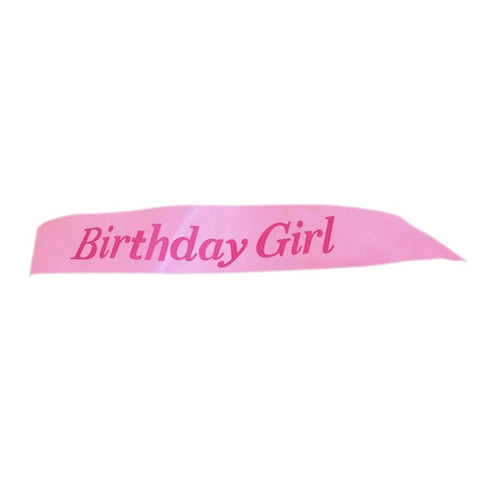 "Fashionable Pink Satin Sash ""Birthday Girl"" with Hot Pink Encased Lettering - 15th, 16th, 17th, 18th, 21st, 22nd, 25th, 30th Birthday Party - Happy Birthday Sash"