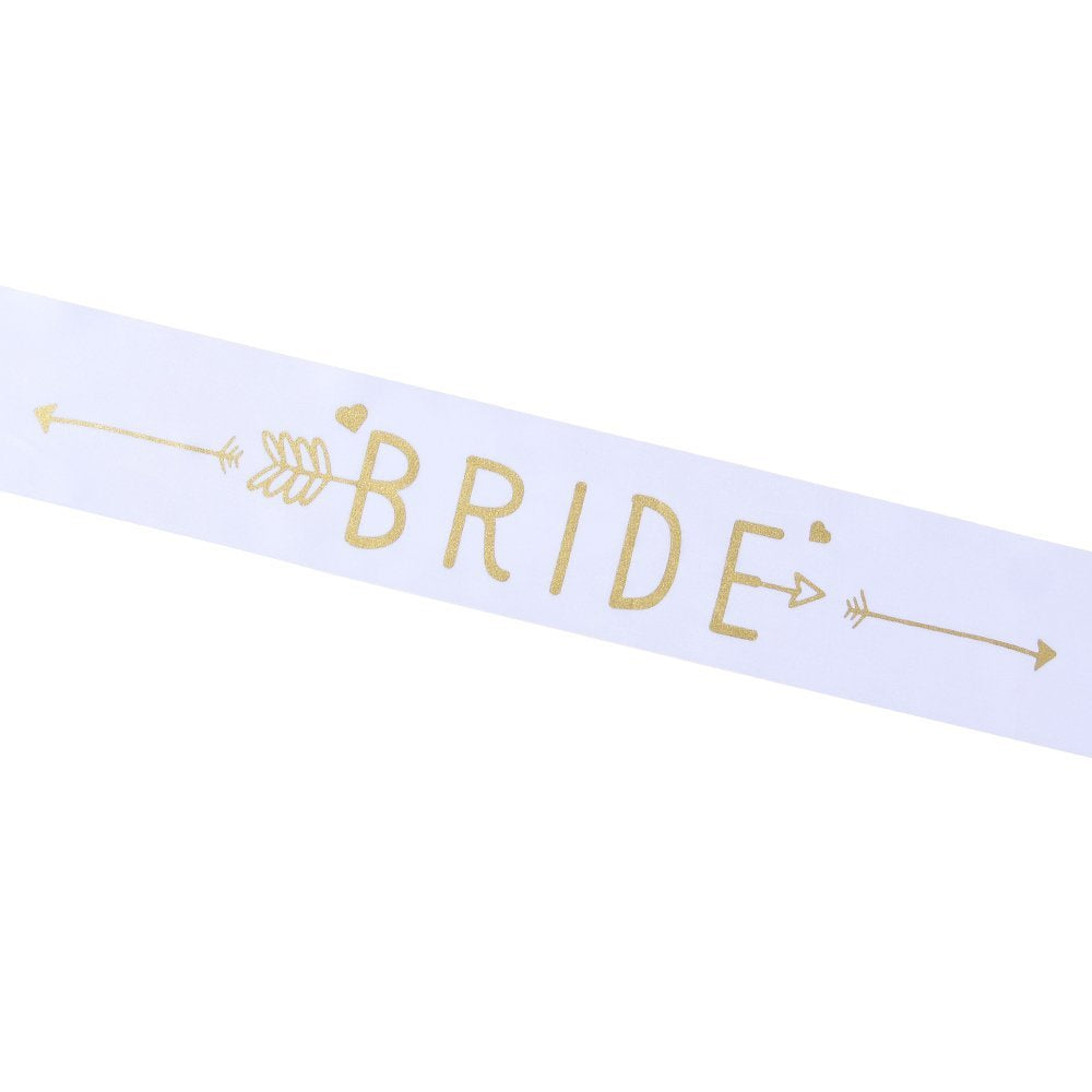 Bachelorette Sash - Bride To Be Silk Printed Party Sash Bridal Shower Hen Party Wedding Decorations Party Favors Accessories (White with Gold Lettering)