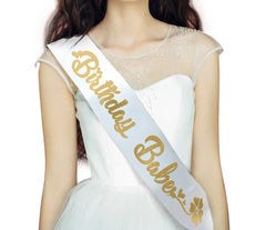 Happy Birthday Babe Sash with Gold Lettering - 15th, 16th, 17th, 18th, 21st, 22nd, 25th, 30th, 50th Birthday Party