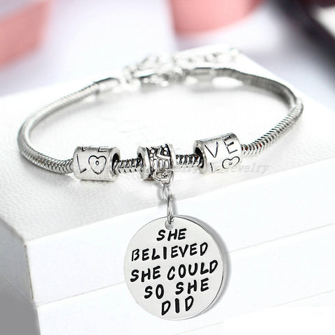 Inspirational Jewelry Engraved Message She Believed She Could so She Did Quote Token Bracelet for women, girls, friendship, wedding gift jewelry - Perfect Gift for Women, Men, Teens, Girls