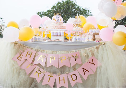 Rose Gold Pink Birthday Bunting Banner Decoration Birthday Bridal or Baby Shower and a Free Gift Included - Hand-Drawn Unique Birthday Sash