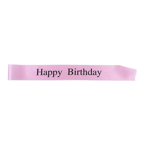"Fashionable Pink Satin Sash ""Happy Birthday"" with Black Encased Lettering - 15th, 16th, 17th, 18th, 21st, 22nd, 25th, 30th Birthday Party - Happy Birthday Sash"