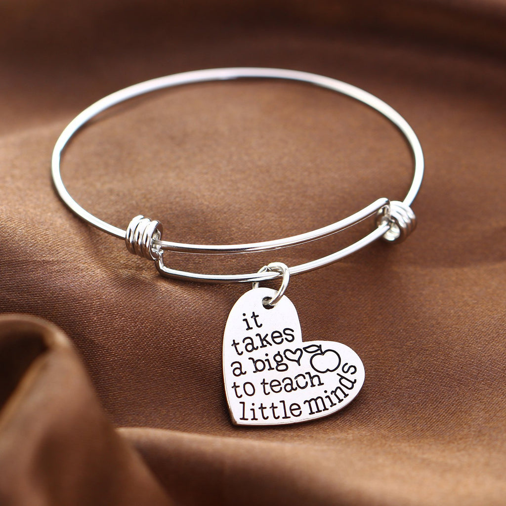 Inspirational Jewelry Engraved Message It takes a Big Heart to Teach Little Minds Quote Token Bracelet for women, girls, friendship, wedding gift jewelry - Perfect Gift for Teachers