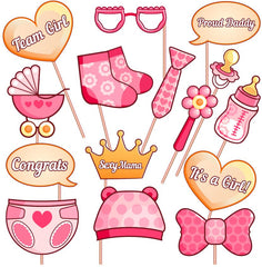 It's a Girl Rose Pink and Gold Baby Shower Party Photo Booth Prop Kits, Baby Shower Pink Lovely Bottle Masks Photobooth Props with Sticks Accessories Newborn Girl Gift Favor Supplies Ideas Decorations