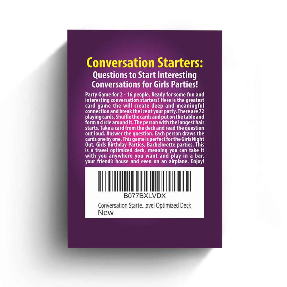 Conversation Starters: Questions to Start Interesting Conversations for Girls Parties, Bachelorette! Best Travel Optimized Deck Game