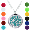 Image of Aromatherapy Necklace - Flower Tree - Essential Oil Diffuser Necklace - Aromatherapy Jewelry - Stainless Steel with a Chain, 12 Insert Pads and a Gift Pouch - Best Aromatherapy Gift Set
