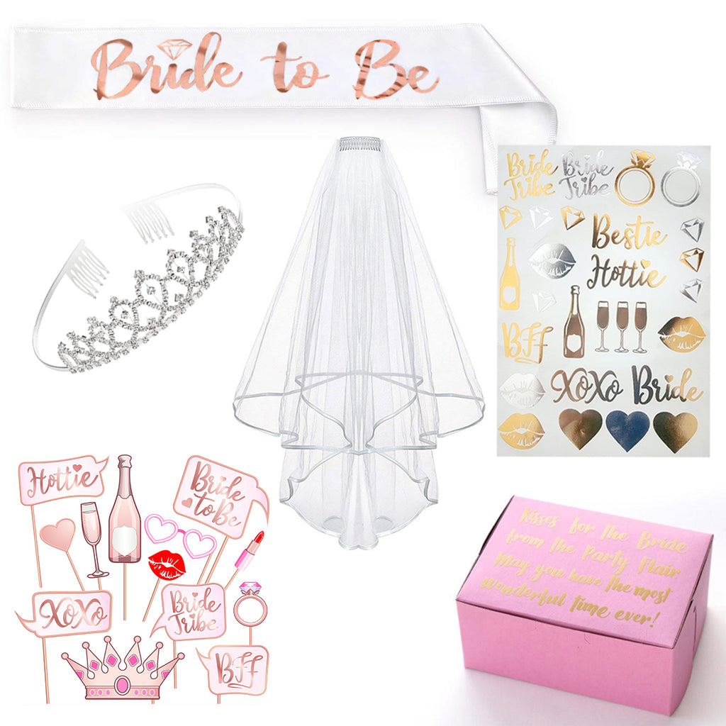 Rose Gold Pink Bride to Be Decoration Kit - Bachelorette Party, Bridal Shower Supplies: Bride to Be Sash, Rhinestone Tiara Crown, Veil, Photo Booth Props and Bride Tribe Gold & Silver Flash Tattoos