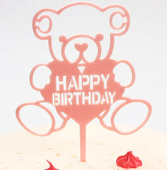 Teddy Bear Cake Topper: Glitter Rose Gold Pink Happy Birthday Cake and Cupcake Toppers - Party Decoration for Kids and Adults with Wooden Polls - Perfect for Cakes, Donuts Cakes and Cupcakes!