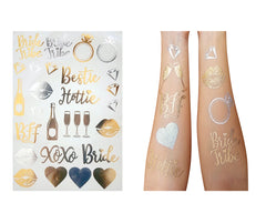 Image of Bride and Bride Tribe Gold Temporary Tattoos For A Bachelorette Party - Unique Custom Made Design (Team Bride Tattoos 1-Pack)