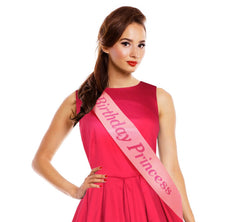 Image of Fashionable Pink Satin Sash