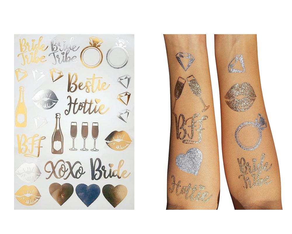 Bride and Bride Tribe Gold Temporary Tattoos For A Bachelorette Party - Unique Custom Made Design (Team Bride Tattoos 1-Pack)