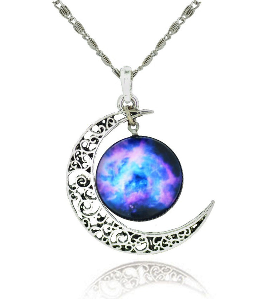 Galaxy & Cosmic Moon Pendant Necklace, Purple Glass, 17.5'' Chain - ♥Best Gift♥ with Exquisite Package