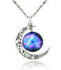 Image of Galaxy & Cosmic Moon Pendant Necklace, Purple Glass, 17.5'' Chain - ♥Best Gift♥ with Exquisite Package
