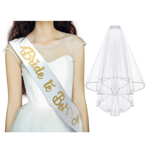 Gold & White Bride to Be Silk Printed Sash and Veil - Bridal Shower Supplies, Hen Party Wedding Decorations - Bachelorette Kit, Party Favors & Accessories - Unique Design