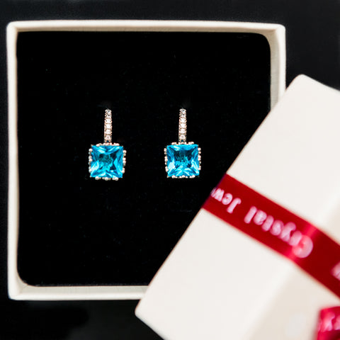Platinum Plated Crown Earrings with Blue Cubic Zirconia Stone