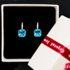Image of Platinum Plated Crown Earrings with Blue Cubic Zirconia Stone