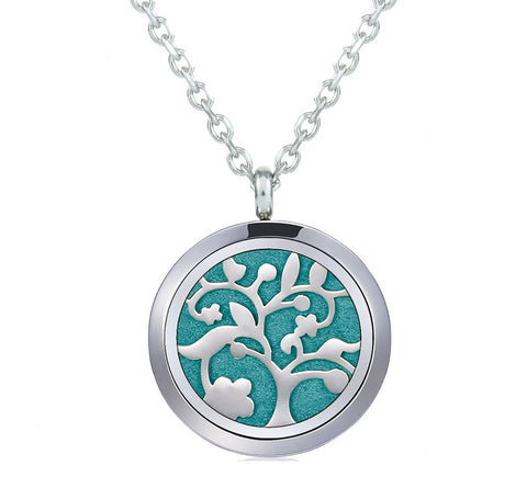 Aromatherapy Necklace - Flower Tree - Essential Oil Diffuser Necklace - Aromatherapy Jewelry - Stainless Steel with a Chain, 12 Insert Pads and a Gift Pouch - Best Aromatherapy Gift Set