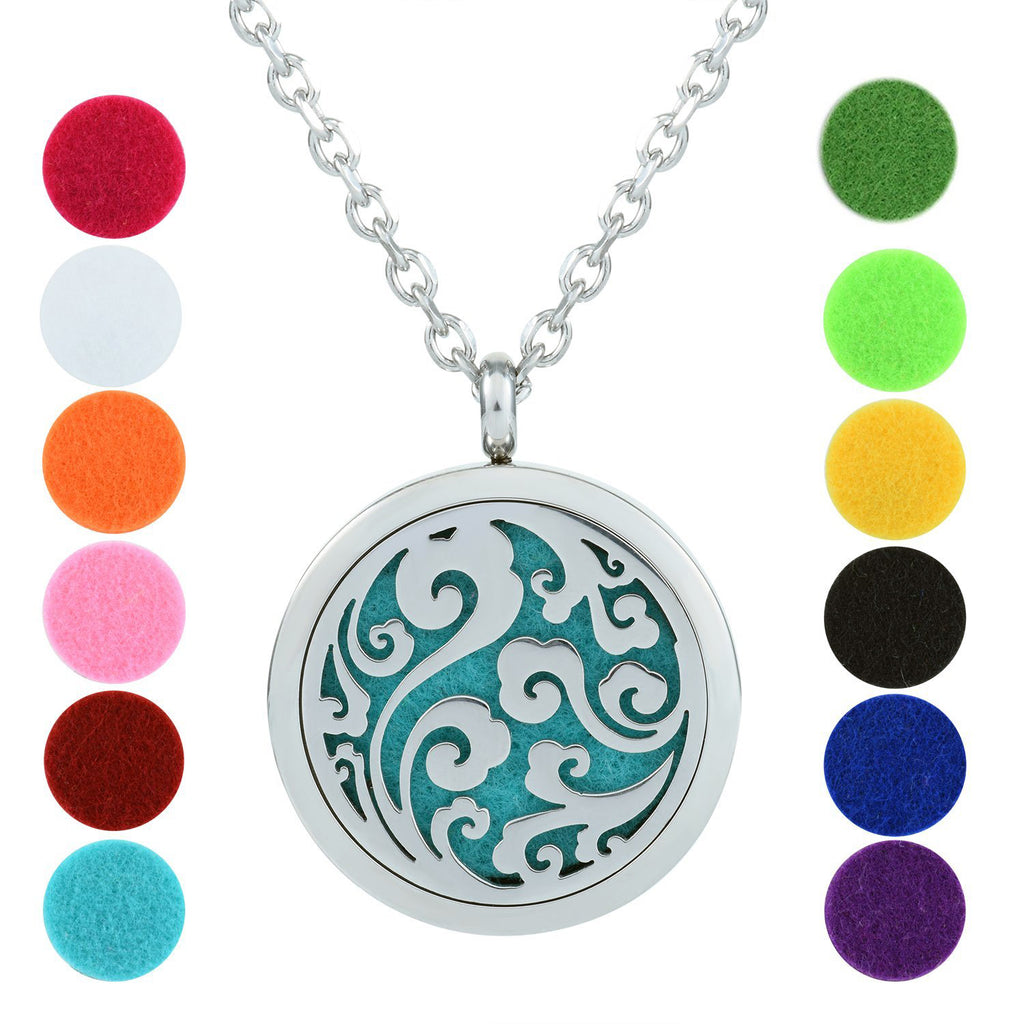 Aromatherapy Necklace - Ocean Waves - Essential Oil Diffuser Necklace - Aromatherapy Jewelry - Stainless Steel with a Chain, 12 Insert Pads and a Gift Pouch - Best Aromatherapy Gift Set