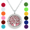 Image of Jewellett Tree of Life Essential Oil Diffuser Necklace - Aromatherapy Jewelry - Hypoallergenic 316L Stainless Steel, 21'' Chain with 12 Assorted Pads