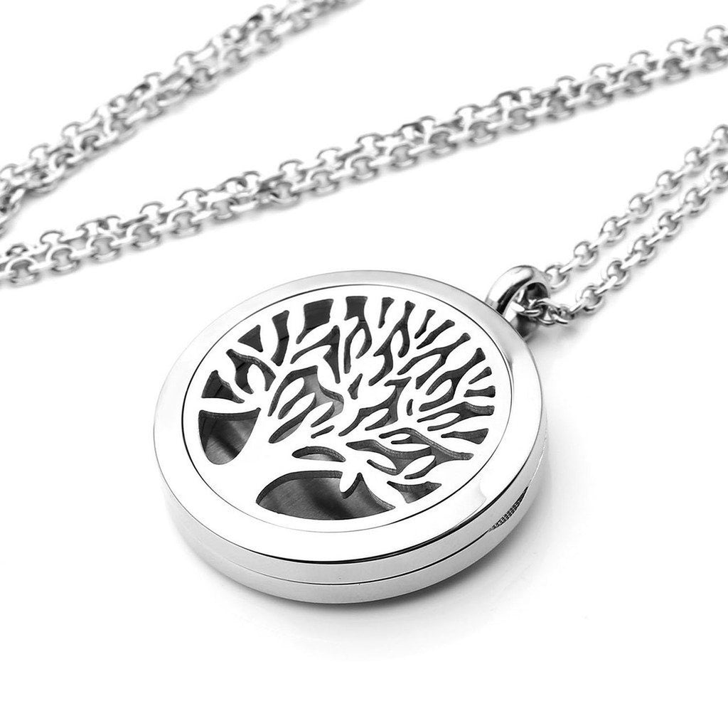 Jewellett Tree of Life Essential Oil Diffuser Necklace - Aromatherapy Jewelry - Hypoallergenic 316L Stainless Steel, 21'' Chain with 12 Assorted Pads