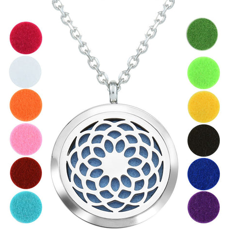Aromatherapy Necklace - Mandala - Essential Oil Diffuser Necklace - Aromatherapy Jewelry - Stainless Steel with a Chain, 12 Insert Pads and a Gift Pouch - Best Aromatherapy Gift Set