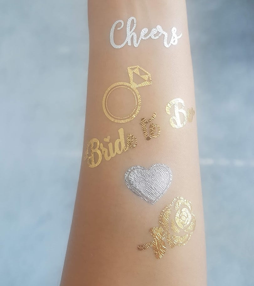 bride and bride tribe gold temporary tattoos for a bachelorette party naughty bridal shower favor