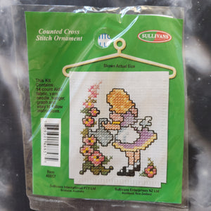 Girl Watering Flowers Counted Cross Stitch Ornament Kit