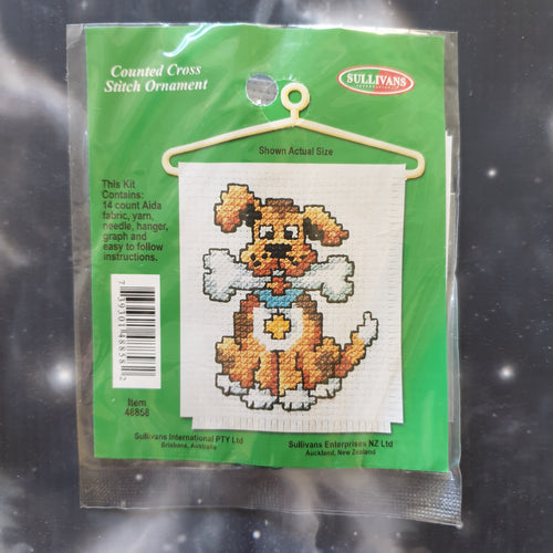 Dog with Bone Counted Cross Stitch Ornament Kit